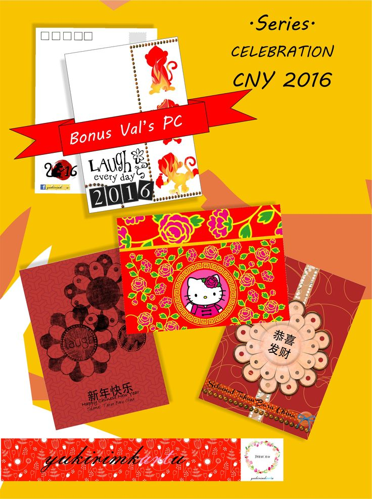 Series : CNY 2016 There are 3 postcards, the design looks a like giant hong bao (red envelope which usually used and giving away every chinese celebration).  Get them all plus bonus 1 monkey postcard to collect.   Contact us for more detail at FB page https://www.facebook.com/yukirimkartu