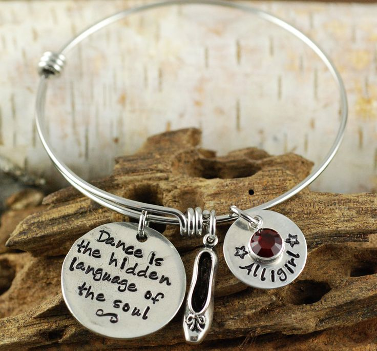 Personalized Bangle Bracelet, Dancing Bracelet, Silver Bangle Charm Bracelet, Ballet Slipper Bangle, Alex and Ani Style by AnnieReh on Etsy