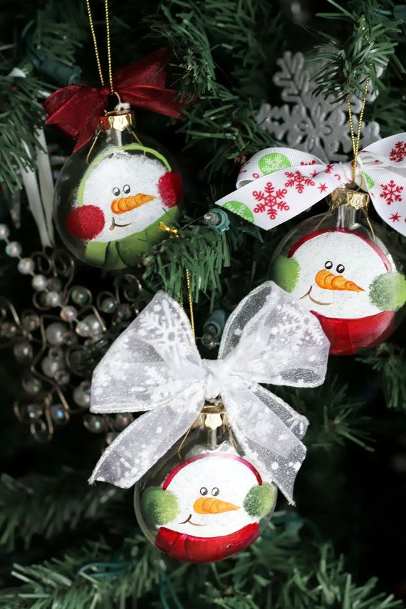 Snowman Hand Painted Christmas Ornament by PeachBlossomStudios, $4.00