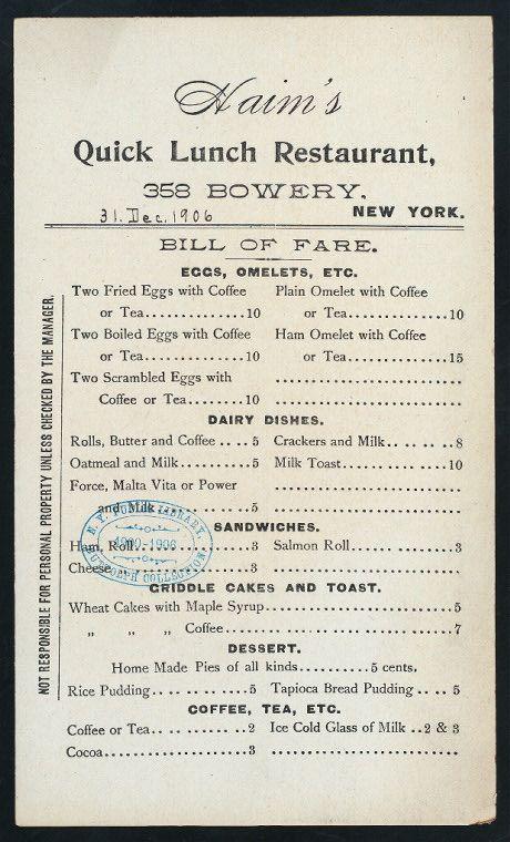 Haim's Quick-Lunch Restaurant menu. New York, 1906.