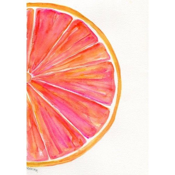 Grapefruit Watercolor Painting Original, Ruby Red Citrus ART, 7 x 10,... ❤ liked on Polyvore featuring home, home decor, wall art, watercolor wall art, watercolor painting, fruit paintings, watercolour painting and water colour painting
