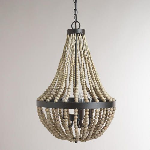 Small Wood Bead Chandelier
