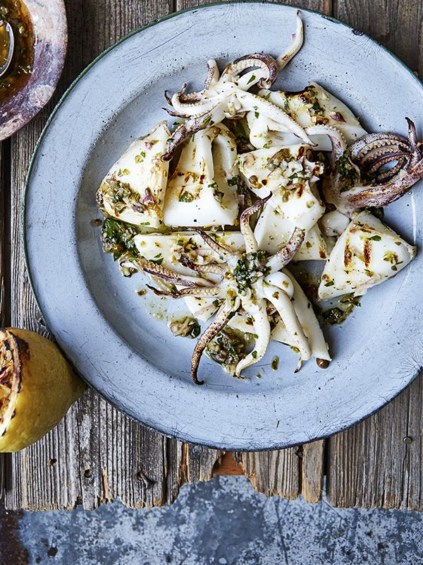 This recipe for barbecued squid with charred lemon and caper dressing is really quick and easy to make, but it tastes delicious and looks really impressive - perfect for entertaining. The simple charred lemon and caper dressing works really well with the fresh squid.