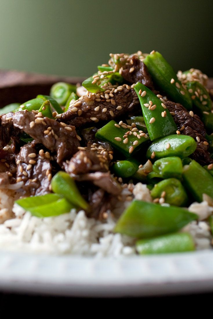 NYT Cooking: Here's a stir-fry far better than most take-out Chinese, and you can make it with any lean cut of meat — flank steak, London broil, tenderloin, sirloin or skirt steak — so long as it is cut thin against the grain. Most takeout joints use snow peas, but sugar snaps are juicier and more succulent, and just as crunchy. (Their downside is that they are slightly more%...