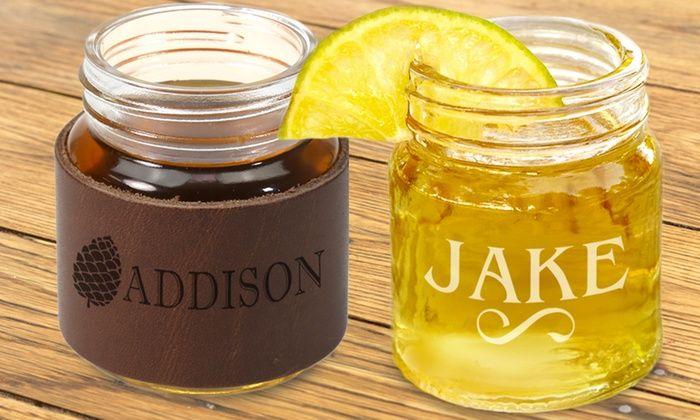 Custom Mason Jar Shot Glass with Optional Leather Sleeve from Monogram Online: Custom Mason Jar Shot Glass with Optional Leather Sleeve from Monogram Online