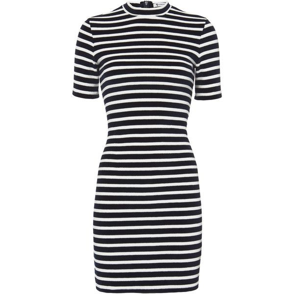 Stripe Velvet Dress (4,440 MXN) ❤ liked on Polyvore featuring dresses, navy, navy dress, navy velvet dress, mock neck dress, navy fitted dress and short-sleeve dresses