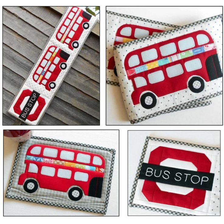London Bus Skinny Runner and Mug Rug Pattern.  Add a little touch of London Town to your table today.