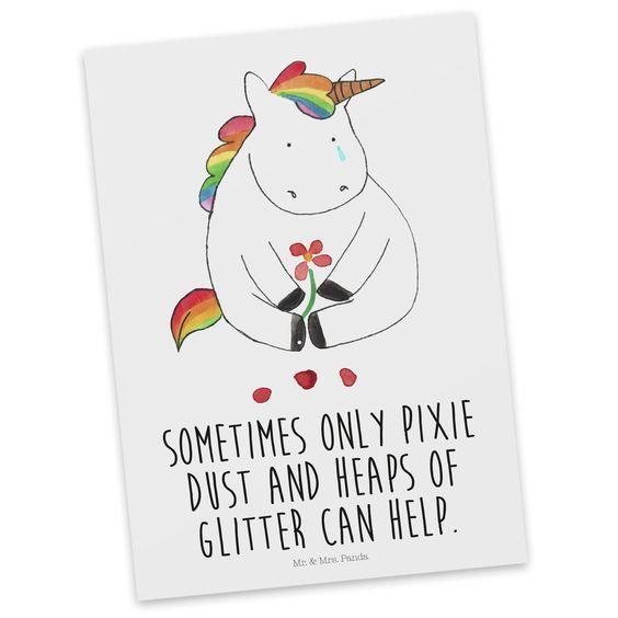 Postkarte Unicorn Traurig mit Spruch aus Karton 300 Gramm  weiß - Das Original von Mr. & Mrs. Panda.  Diese wunderschöne Postkarte aus edlem und hochwertigem 300 Gramm Papier wurde matt glänzend bedruckt und wirkt dadurch sehr edel. Natürlich ist sie auch als Geschenkkarte oder Einladungskarte problemlos zu verwenden. Jede unserer Postkarten wird von uns per hand entworfen, gefertigt, verpackt und verschickt.    Über unser Motiv Unicorn Traurig mit Spruch  Ooooh, ein trauriges Einhorn... Da…