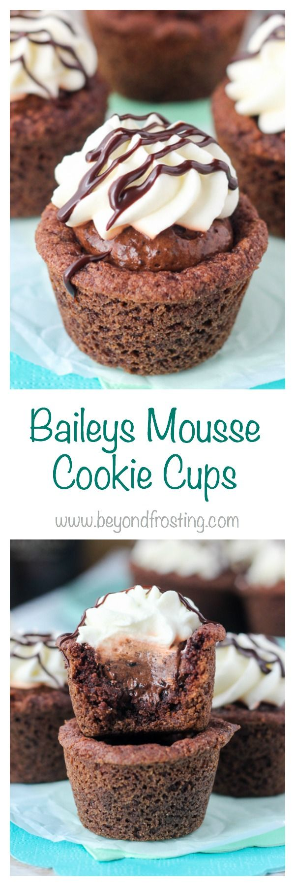 These Baileys Mousse cookie Cups start with a chocolate pudding cookie. They're filled with a silky Baileys Chocolate Mousse and topped with whipped cream and a Baileys chocolate ganache.