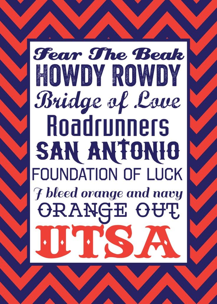 UTSA Typography 5x7 Print. $7.50, via Etsy.