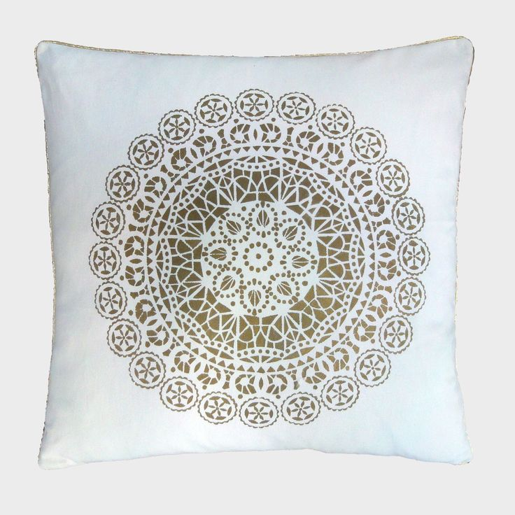 "This Moroccan inspired design of exotic and eclectic patterns will add a delightful touch to your home decor. It's 24""x24"" and hand painted with love! Available in gold or silver. $89.95   #handpainted #moroccan #handmade #pillow #oneofakind #luxury #canada #montreal #maxillari"