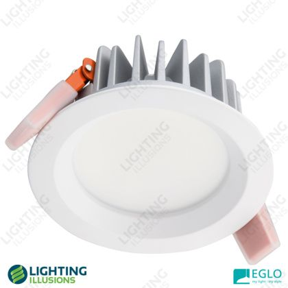 White - Warm White Eglo Bruno 13W LED Dimmable High Output DOWNLIGHTS UPSTAIRS Fixed Downlight IP44 - Shop - Lighting Illusions Online