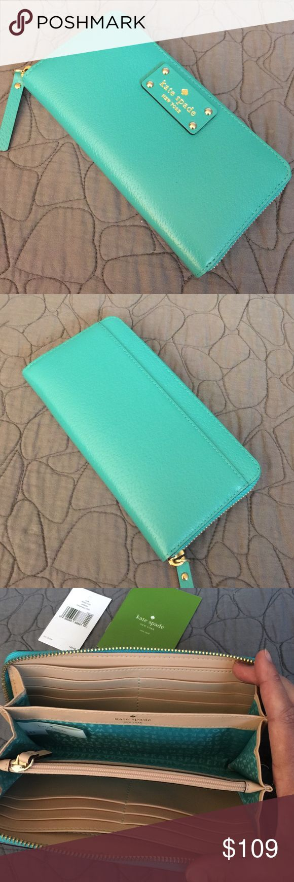 Kate Spade Turquoise Nada Wellesley Wallet Brand new kate spade Nada Wellesley zipper wallet in a stunning turquoise blue leather. This wallet has tons of room and lots of credit card slots on pockets. kate spade Bags Wallets