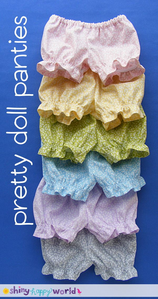 Pretty Doll Panties - pattern for Dress Up Bunch Dolls featuring Dear Stella fabric