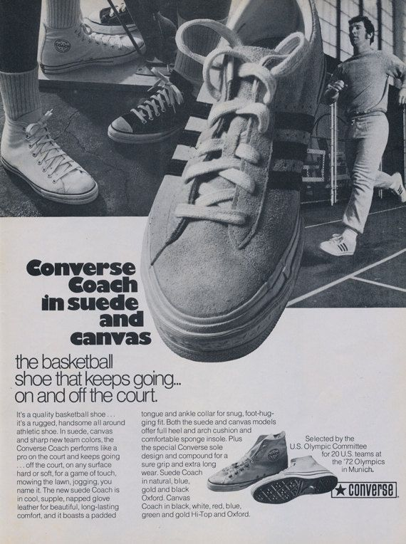 Converse Basketball Shoes Ad Coach in Suede & by AdVintageCom