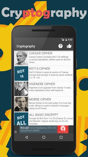 Cryptography v1.3.4 [Unlocked]   Cryptography v1.3.4 [Unlocked]Requirements:4.1 and upOverview:Cryptography is a cipher hashing encoding and learning tool for all ages. My goal is to make this app a number one cryptography tool around Google Play. I do this alone as a hobby like my other apps too so progress could be slow. Try out and see more!  Cryptography is a cipher hashing encoding and learning tool for all ages. My goal is to make this app a number one cryptography tool around Google…