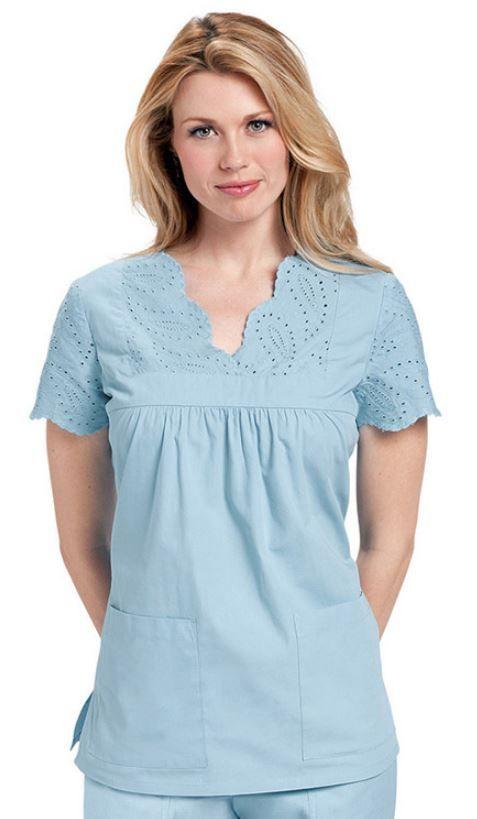Pretty Koi Happiness Scrubs Women's Anabelle Yoke Style Top at allheart.com #scrubs #koi #eyelet