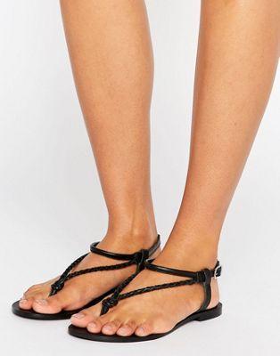Кожаные плетеные сандалии ASOS FIXATION