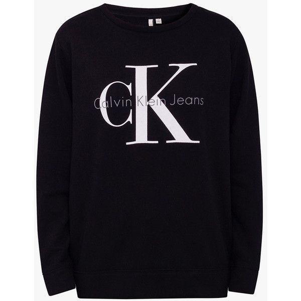 Calvin Klein Vintage Logo Sweatshirt ($88) ❤ liked on Polyvore featuring tops, hoodies, sweatshirts, cotton crop top, vintage crop top, crew neck sweatshirts, long crop tops and crewneck sweatshirt