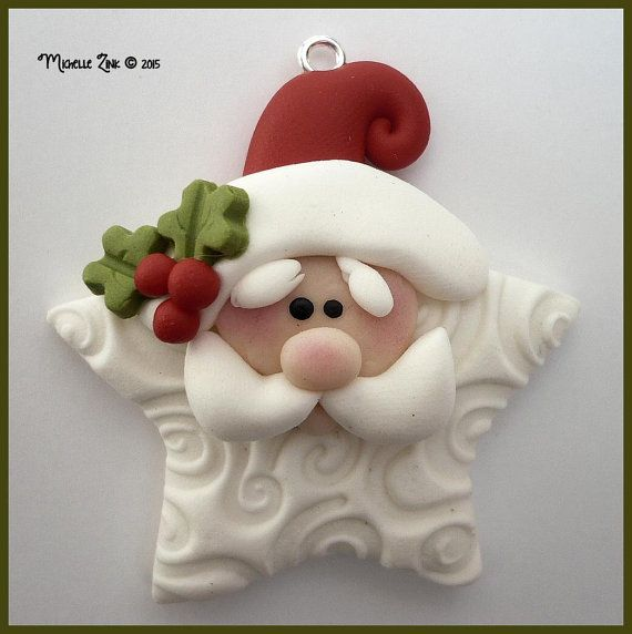 Polymer Clay Star Santa Pendant Charm por michellesclaybeads