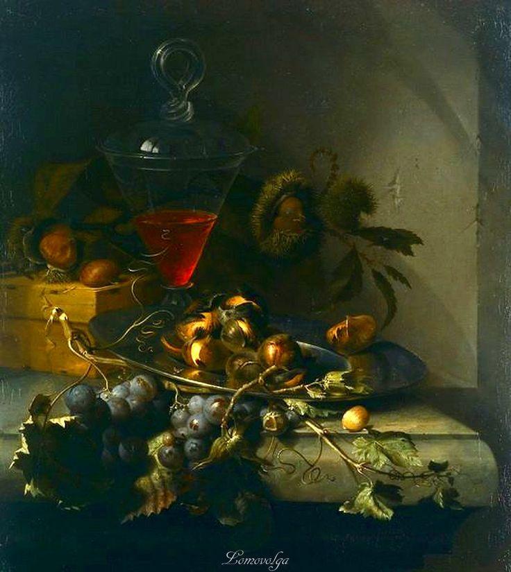 Abraham Mignon ? Натюрморт с лесными орехами и виноградом.
