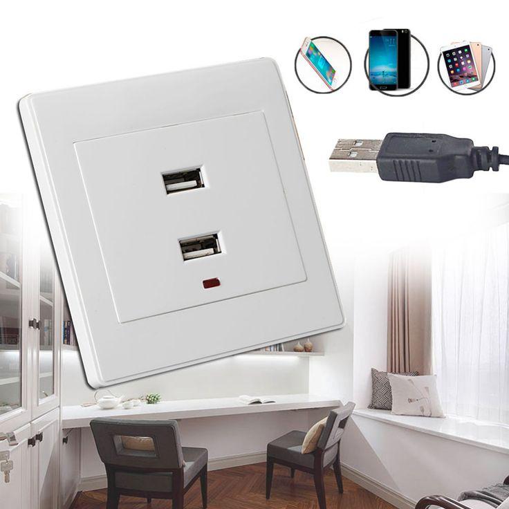 Dual USB Presa A Muro Caricabatterie AC/DC Adattatore di Alimentazione Spina Presa Pannello Piatto Bianco