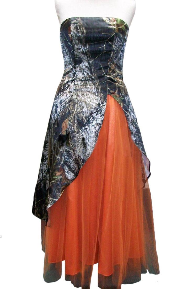 Vienna Bride Strapless Camo Prom Party Homecoming Dress Slit Long-12-Orange