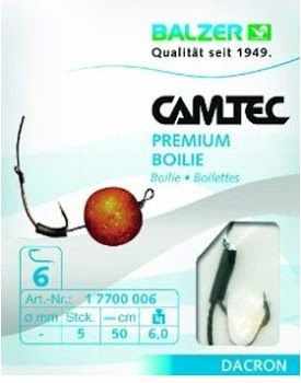 Balzer Camtec Boilie - Black Braided, #6 Hair Rigs 5 pack  RI Carp Bait and Tackle Shop