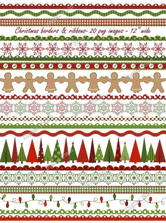 Christmas borders and ribbons clip art set-<b>red green holiday</b> ...