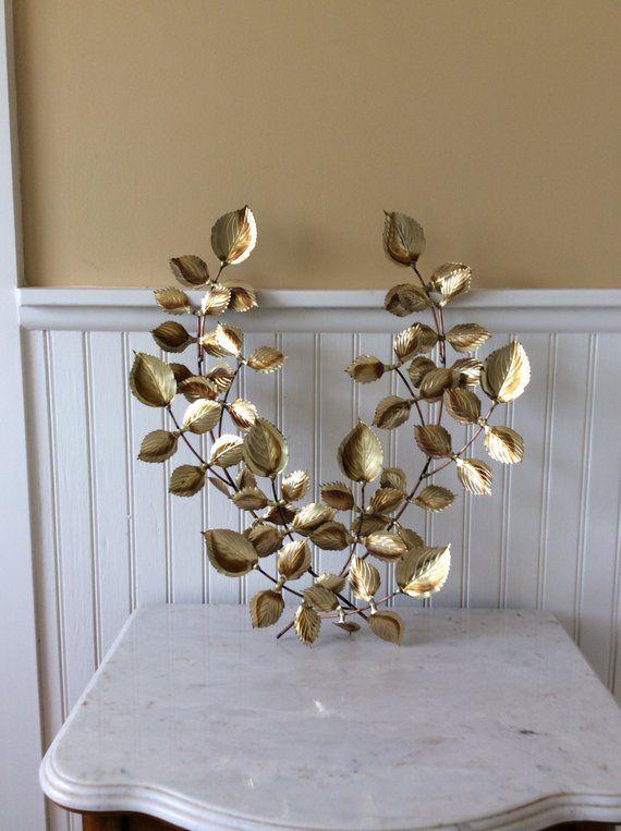 Vintage Gold Metal Leaf Art Set Of 2 Metal Wall Art Mid Leaf Art Metal Leaf Art Metal Leaf Wall Art