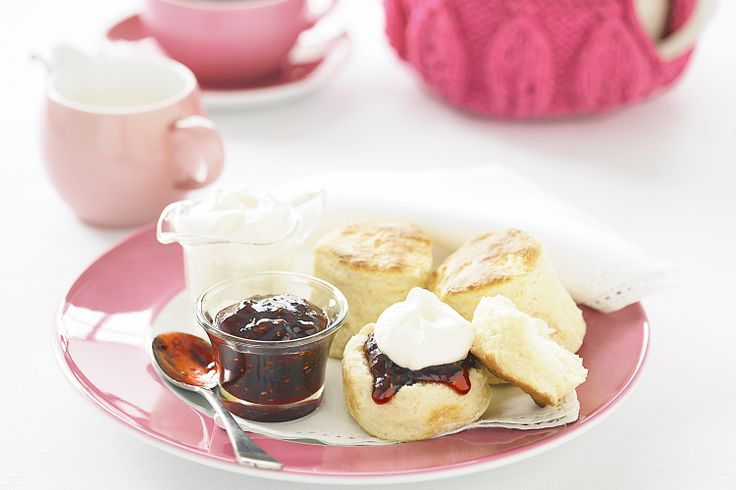 Make a pot of tea an occasion with freshly baked scones topped with jam and cream.