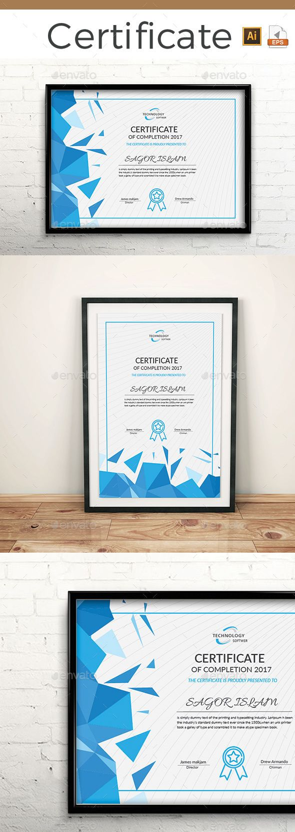 #Certificate - Certificates #Stationery Download here: https://graphicriver.net/item/certificate/19993374?ref=alena994