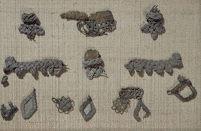 Bj 524 Birka Textile Fragment - note the wire 'mount' for the mica pendants at the bottom. Too cool!