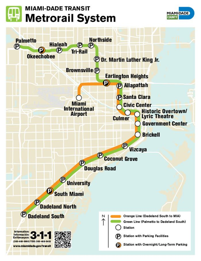 metrorail :plan du métro de miami, États-unis   miami map