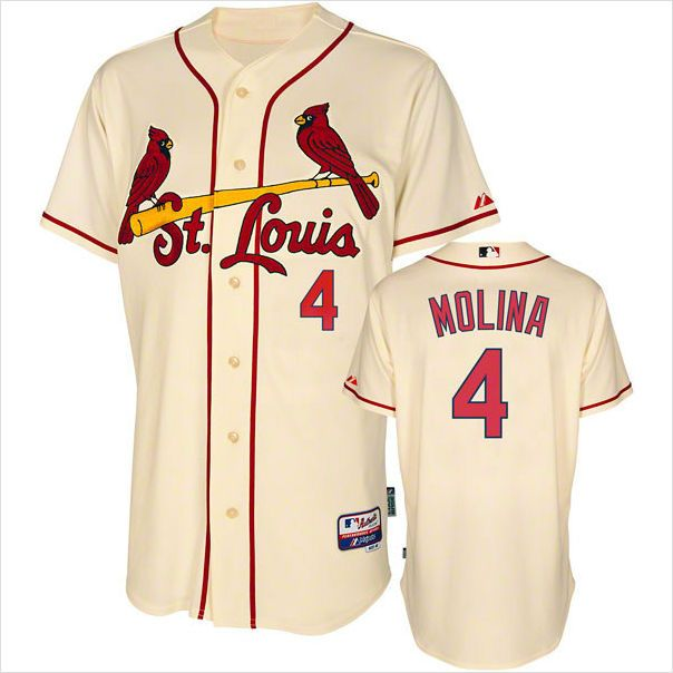 8805a3c15d6 ... mens st. louis cardinals yadier molina 4 alternate ivory authentic mlb  jersey on ebid united