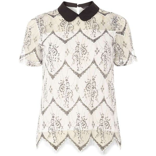 Dorothy Perkins Ivory Collar Lace T-Shirt ($35) ❤ liked on Polyvore featuring tops, t-shirts, white, white t shirt, white tee, short sleeve lace tee, lace tee and white short sleeve top