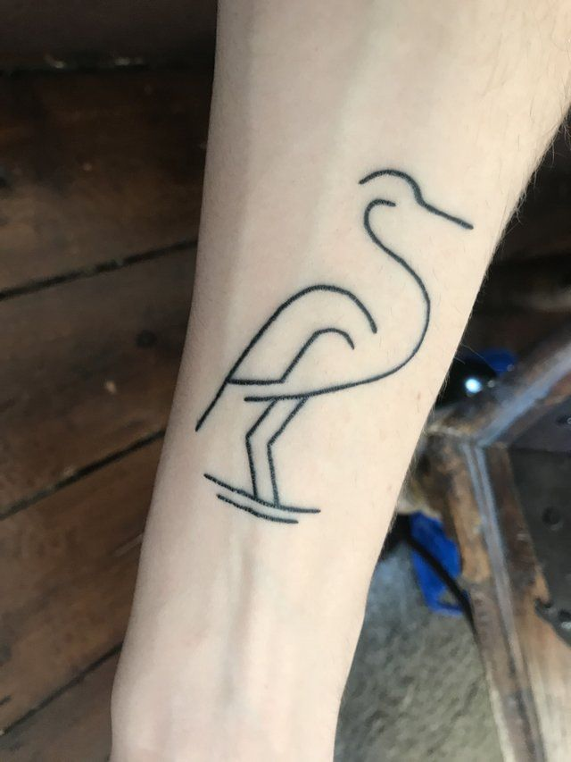 d900513836354 Heron tattoo, drawn by me, inked by Deni by Black Garden, London, UK. :  tattoos