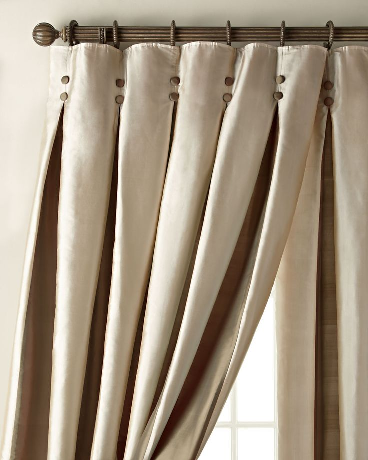 """Each 108""""L Inverted Pleat Curtain, Ivory/Blue"""