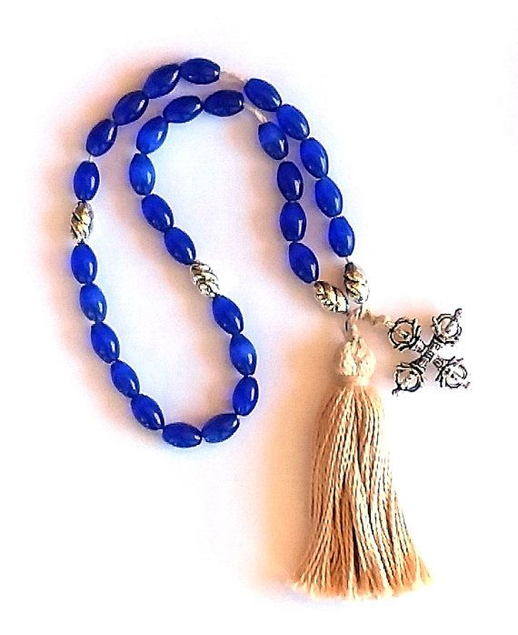 Blue Mexican Opal Medieval Rosary Paternoster 3 Dec Dorje Cross Tassel SCA Re-enactment LARP Costume