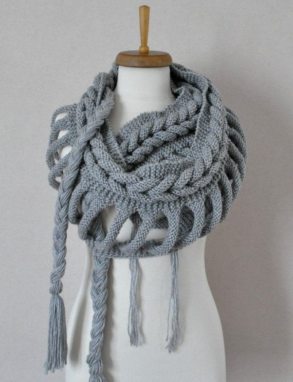 Knit Scarf Grey infinity scarf by sweetknitting on Etsy, $65.00