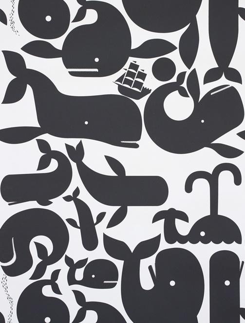 fun bath wallpaper for kiddos: Whales Wallpapers, Boys Bathroom, Kids Bathroom, Whales Bathroom Kids, Wall Paper, Geoff Mcfetridg, Bathroom Wallpapers, Baby Nurseries, Wallpapers Design