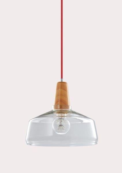 Φωτιστικό μονόφωτο γυαλί διάφανο και ξύλο 20Χ23cm