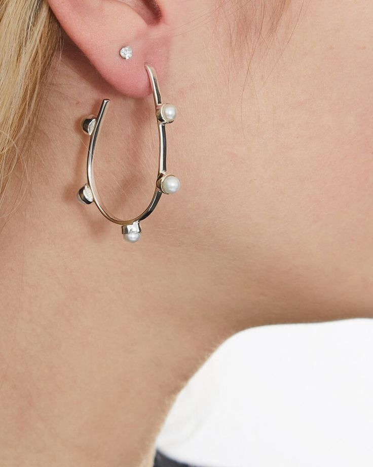 #BuyItNow > Cornelia Webb (SE), single Earring Pearled Hoop made of silver plated brass and decorated with pearls. #sweden | finlandjewelry.com