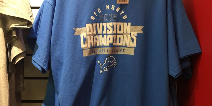 Oops! Detroit Lions NFC North champions T-shirts being sold at department store