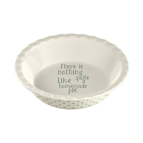 Katie Alice - Cottage Flower Soneware Pie Dish. With Corrugated rim and Lettering on the base 'There is nothing quite like a homemade pie'.