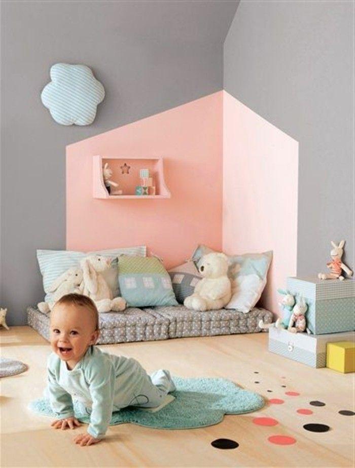 Best 25 rose gris ideas on pinterest bureau d 39 or rose for Couleur mur chambre bebe fille