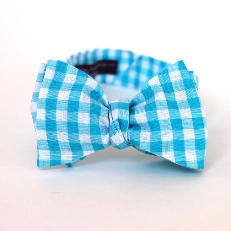 Men's Bow Tie Turquoise Gingham Aqua Blue and by HandmadeByEmy