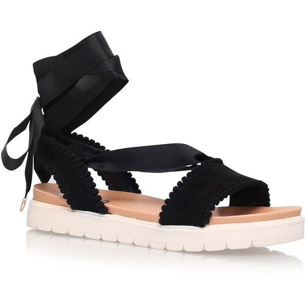 Dakota Ribbon Tie Sandals by Miss Kg ($84) ❤ liked on Polyvore featuring shoes, sandals, black, black summer shoes, low shoes, black sandals, summer shoes and black shoes