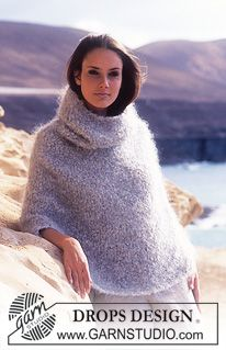 DROPS Poncho with hood in Poodle. ~ DROPS Design