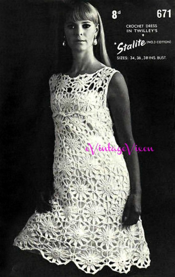Dress Crochet Pattern Ladies Summer Wear Retro 60s por VintageBeso